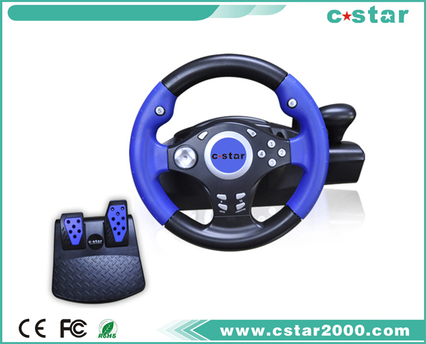 PS2/USB Steering Wheel with Clamps For Fixed NS9812